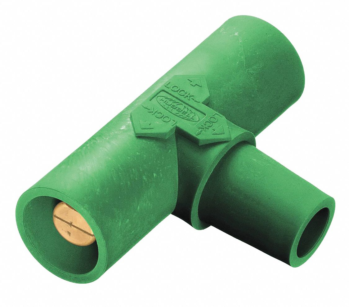 HUBBELL HBLFRASGN Angled Receptacle,Green,Threaded Stud