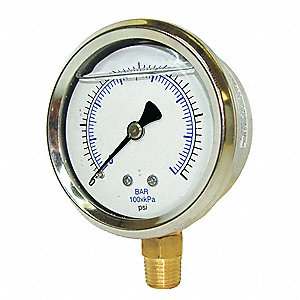 Pressure Gauge,Liquid,4 In.,160 psi