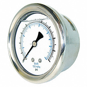 "2"" General Purpose Pressure Gauge, 0 to 15 psi"