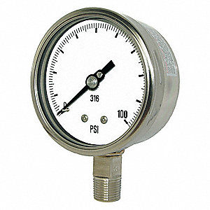 "4"" General Purpose Pressure Gauge, 0 to 600 psi"