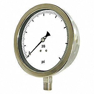 Pressure Gauge,Heavy Duty,6 In., 400 psi