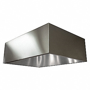 Commercial Kitchen Exhaust Hood, 430 Stainless Steel, Number of Light Fixtures 0, Length 48""