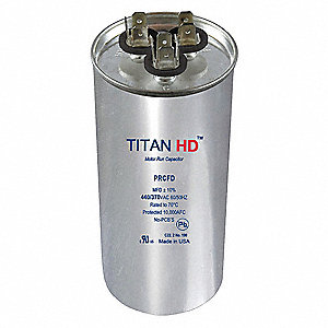 Round Motor Dual Run Capacitor,40/7.5 Microfarad Rating,440VAC Voltage