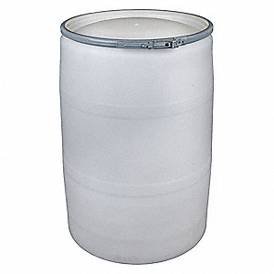 55 gal. White Polyethylene Open Head Transport Drum