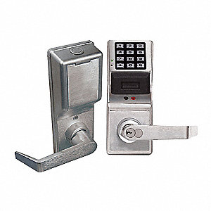 Electronic Lock,Satin Chrome,12 Button