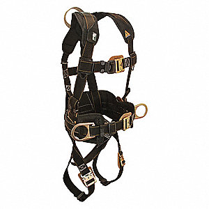 S Arc Flash Full Body Harness 2D, 5000 lb. Tensile Strength, 425 lb. Weight Capacity, Black