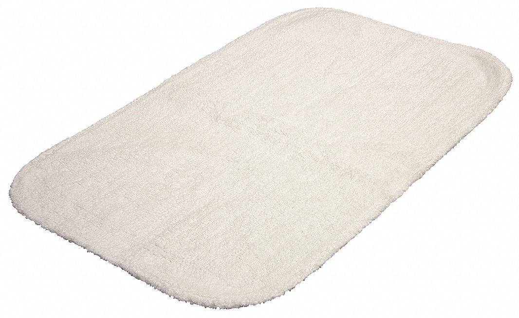 Bath Rug,  Essence,  24 in Width,  40 in Length,  White,  Cotton