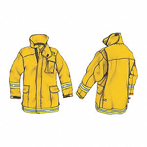 "Yellow Wildland Coat, Fits Chest Size 50"", Size XL"
