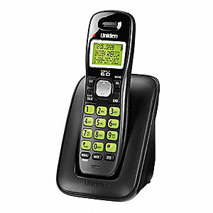 Cordless Telephone,Single Handset,Black
