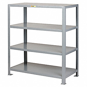 "Freestanding Open Metal Shelving, 60""W x 36""D x 72"" Load Cap., 4 Shelves, Gray"
