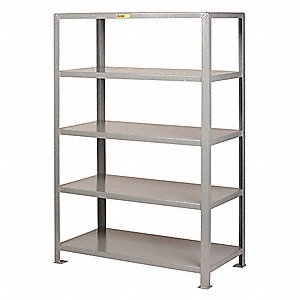 "Freestanding Open Metal Shelving, 48""W x 30""D x 72"" Load Cap., 5 Shelves, Gray"