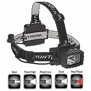 LED Industrial Headlamp, Polymer, 50,000 hr. Lamp Life, Maximum Lumens Output: 100, Black