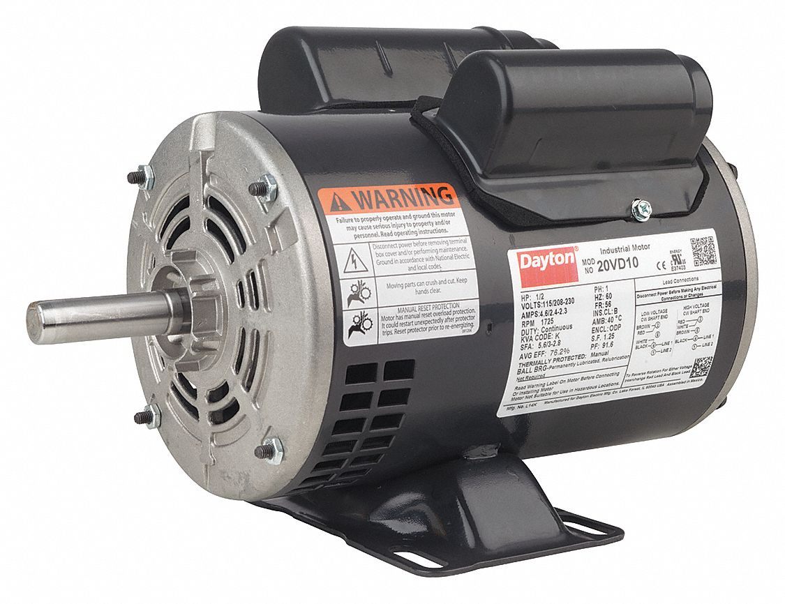 dayton 3 4 hp general purpose motor capacitor start run 1725 rh grainger com Rotary Phase Converter Wiring Diagram Square D Contactor Wiring Diagram