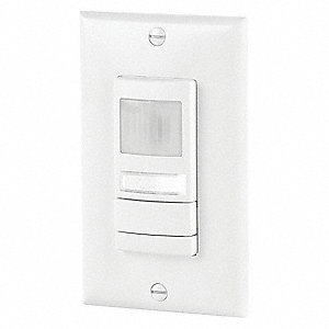 Wall Switch Box Hard Wired Occupancy Sensor, 2000 sq. ft. Microphonic, Passive Infrared, White
