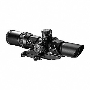 Rifle Scope, 1x to 4x Magnification, 28mm Objective Lens, Mil Dot Reticle
