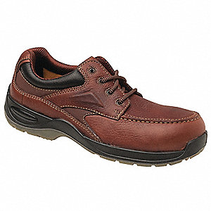 Men's Oxford Shoes, Composite Toe Type, Leather Upper Material, Brown, Size 10D