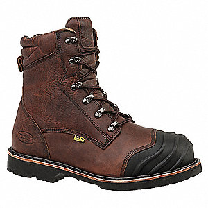 "10""H Men's Work Boots, Composite Toe Type, Leather Upper Material, Brown, Size 6M"