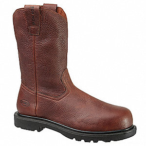 "11""H Men's Wellington Boots, Composite Toe Type, Leather Upper Material, Brown, Size 8-1/2M"