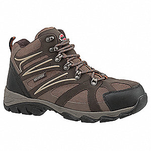 "6""H Men's Hiking Boots, Steel Toe Type, Leather and Nylon Mesh Upper Material, Brown/Tan, Size 7-1/2"