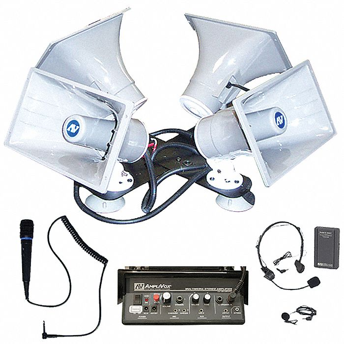 Mobile Public Address System,  10 in Height (In.),  Quad Horn