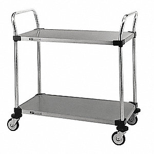 "38"" x 21"" x 38"" Wire Utility Cart with 375 lb. Load Capacity, Silver"