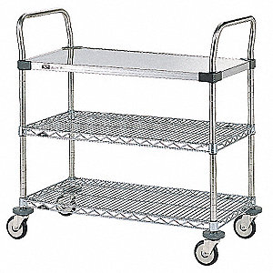 "32""L x 18""W x 38""H SS and Chrome Wire Utility Cart, 375 lb. Load Capacity"