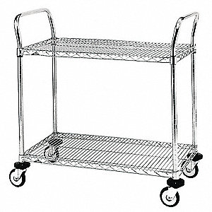 "26"" x 18"" x 38"" Wire Utility Cart with 375 lb. Load Capacity, Silver"