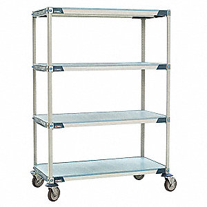 "60"" x 18"" x 68"" Polymer Utility Cart with 900 lb. Load Capacity, Blue/Taupe"
