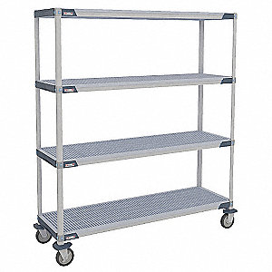 "36"" x 18"" x 68"" Polymer Utility Cart with 900 lb. Load Capacity, Blue/Taupe"