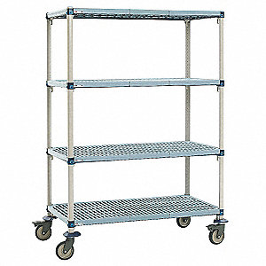 Utility Cart,Microban,48x21x68,4 Shelf
