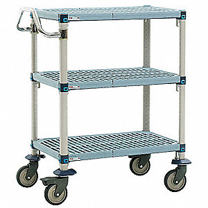 "35"" x 18"" x 39"" Polymer Utility Cart with 900 lb. Load Capacity, Blue/Taupe"