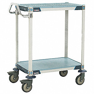 "41"" x 24"" x 39"" Polymer Utility Cart with 900 lb. Load Capacity, Blue/Taupe"
