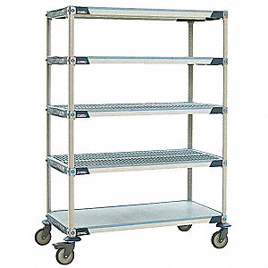 "48"" x 18"" x 79-5/16"" Polymer Utility Cart with 900 lb. Load Capacity, Blue/Taupe"