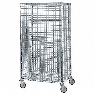 Wire Security Cart,Chrome,53x28x68