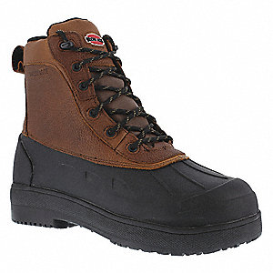 "7""H Women's Work Boots, Composite Toe Type, Leather and Rubber Upper Material, Brown/Black, Size 8-1"