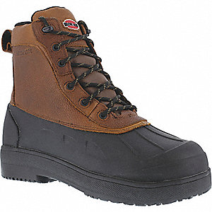 "8""H Men's Work Boots, Composite Toe Type, Leather and Rubber Upper Material, Brown/Black, Size 13W"
