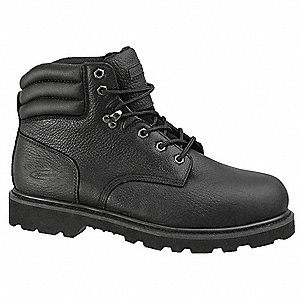 "6""H Men's Work Boots, Steel Toe Type, Leather Upper Material, Black, Size 11W"