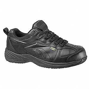 Men's Athletic Style Work Shoes, Composite Toe Type, Leather Upper Material, Black, Size 8-1/2M