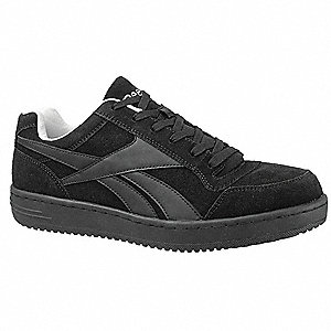 Women's Athletic Work Shoes, Steel Toe Type, Suede Upper Material, Black, Size 8W