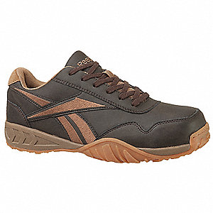 Men's Athletic Style Work Shoes, Composite Toe Type, Waxy Nubuck Upper Material, Brown, Size 7M
