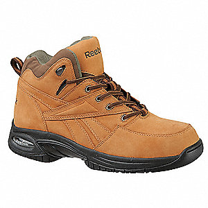 "6""H Men's Athletic Work Shoes, Composite Toe Type, Nubuck Leather Upper Material, Golden Tan, Size 1"
