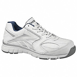 Men's Athletic Style Work Shoes, Composite Toe Type, Leather Upper Material, White, Size 11W