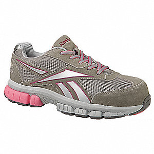 Women's Athletic Style Work Shoes, Composite Toe Type, Suede and Mesh Upper Material, Light Gray/Sil