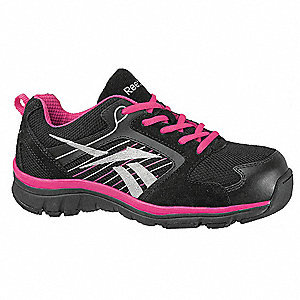 Women's Athletic Work Shoes, Composite Toe Type, Suede and Mesh Upper Material, Black/Pink/Silver, S
