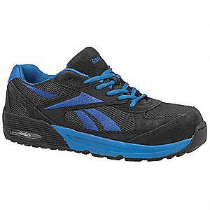 Men's Athletic Work Shoes, Composite Toe Type, Suede and Mesh Upper Material, Dark Gray/Blue, Size 1