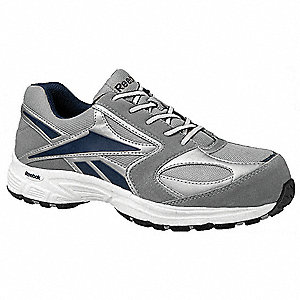Men's Athletic Style Work Shoes, Composite Toe Type, Suede and Mesh Upper Material, Gray/White, Size