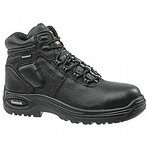"6""H Men's Athletic Style Work Boots, Composite Toe Type, Leather Upper Material, Black, Size 6-1/2M"