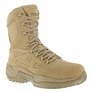"8""H Men's Military Boots, Composite Toe Type, Leather and Nylon Upper Material, Desert Tan, Size 3-1"