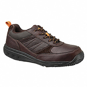Men's Oxford Shoes, Composite Toe Type, Leather Upper Material, Brown, Size 10-1/2W