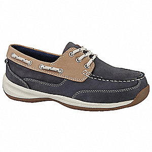 Women's Boat Shoes, Steel Toe Type, Leather Upper Material, Navy Blue/Tan, Size 10W